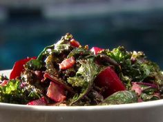 Kale with Roasted Beets and Bacon from FoodNetwork.com - Plan at least an hour ahead. Add sliced of green garlic. Yummm!