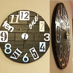 Use tongue and groove pine planks to make an oversized, decorative wood clock. Assemble planks into a square and then use a scroll saw to cut a perfect circle. A nail gun fastens together all the individual pieces.