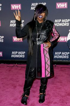 Hip Hop Honors: Missy Elliott - One of the evening's honorees, Missy wore a striking pink-and-black look paired with combat boots. We're loving her blue lipstick, too.
