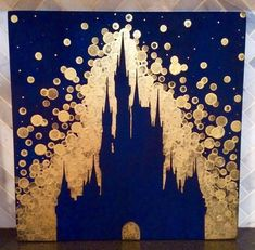 Disney World Castle inspired painting//Disney//Disney Castle//Disneyland Peinture d - Disney Crafts Ideas Toile Disney, Art Disney, Disney Kunst, Disney Diy, Disney Crafts, Disney Drawings, Art Drawings, Disney Castle Drawing, Drawing Disney