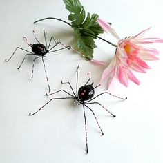Pair of Handmade Black Spiders With Pink and by SpiderwoodHollow, $20.00