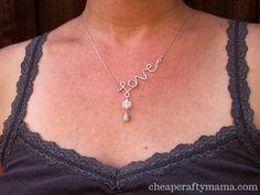 diy 'love' necklace