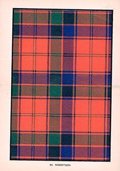 "Johnston's Scottish Tartans - ""ROBERTSON"" - Chromolithograph - c1899"