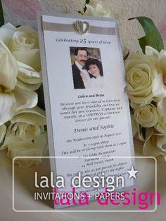 Ribbon with diamond embellishment wedding anniversary invitation