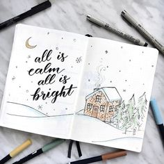 Bullet journal drawing ideas, Winter drawings. @notebook_therapy