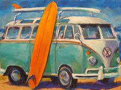 "splendiferoushoney: ""by brian cameron "" Cute Canvas Paintings, Canvas Art, Automotive Art, Automotive Group, Hippie Art, Volkswagen Bus, Surf Art, Car Painting, Beach Art"
