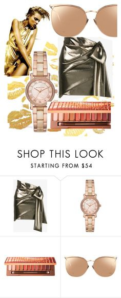 """""""Golden"""" by claudiagonzalez-6 ❤ liked on Polyvore featuring Yves Saint Laurent, Michael Kors, Urban Decay and Linda Farrow"""