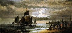 CHARLES WILLIAM THORNLEY Also known as BI... 'Fishing Boats by Moonlight with Fisher Folk at work on the Shore Line'