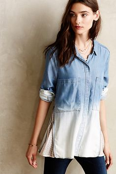 Zipped Lace Buttondown #anthropologie, great look, just bleach bottom and cut in lace into seams