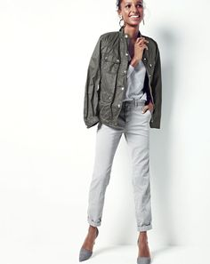 J.Crew women's downtown field jacket, Collection cashmere boyfriend V-neck sweater,  Sunday slim chino, tortoise and flower hoop earrings and Elsie suede d'Orsay pumps.