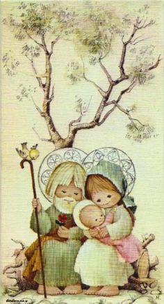 Mary And Jesus, Holly Hobbie, Christmas Scenes, Xmas, Teddy Bear, Retro, Cards, Animals, Painting