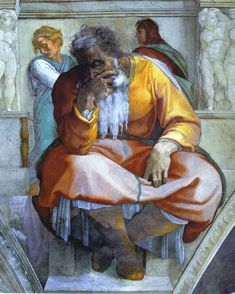 The prophet Jeremiah on the Sistine Chapel - Michelangelo. One of many of Michelangelo's brilliant messages hidden in the Sistine Chapel. Jeremiah is scowling directly at the where the pope enters the chapel. Renaissance Kunst, High Renaissance, Caravaggio, Catholic Art, Religious Art, Michelangelo Paintings, Sistine Chapel Ceiling, Biblical Art, Painting Gallery