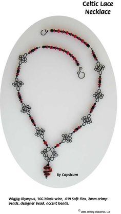 Celtic Lace Wire and Beads Necklace Jewelry Making Project made with WigJig jewelry tools and jewelry supplies.