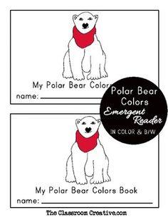Polar bear scarf colors emergent reader. #winter #literacy