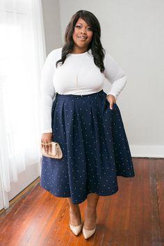 Plus Size Clothing for Women - The Kate Midington - Navy Polka-Dot - Society+ - Society Plus - Buy Online Now! - 1