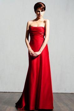Strapless satin bridesmaid dress with zipper back