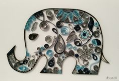 Elefante filigrana quilling