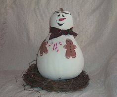 free images to paint on gourds | giant snowman on wreath hand painted snowman with gingerbread men and ...