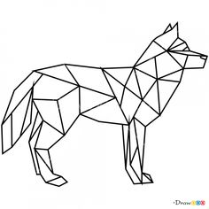 geometric animals wolf drawing draw animal geometrische easy drawings drawdoo shapes zeichnung polygon tattoo geometrisches tier coloring pages bilder henna