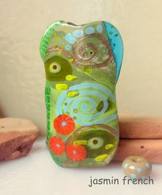 jasmin french ' the old couch ' lampwork focal bead ooak