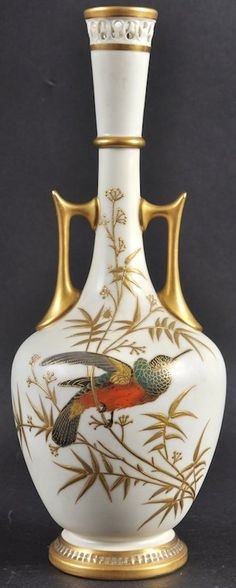 A ROYAL WORCESTER TWO HANDLED VASE decorated with a : Lot 1192