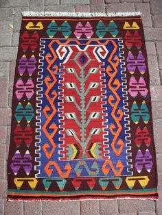 """Turkish Anatolian Kilim Rug Vegitable and Natural Color Wool on Wool  44,3 by 31,5"""" inches (112cm by 81cm)"""