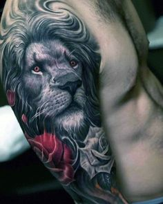 Ideas For Lion Tattoo Realistic Chest Cover Up Tattoos For Men, Rose Tattoos For Women, Neck Tattoo For Guys, Hip Tattoos Women, Tattoos For Guys, Lion Tattoo Sleeves, Wolf Tattoo Sleeve, Best Sleeve Tattoos, Chest Tattoo