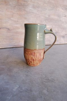 28 oz Stoneware Mug, Handmade Pottery Keramik Kitchen Serving Dining Housewares Caffeine Lovers Cup in Sage Green and Brown
