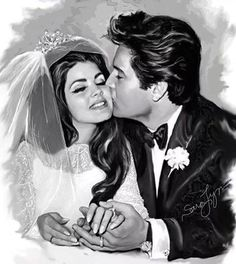 Elvis's and Priscilla's wedding day on May 1st, 1967. This is another example of a beautiful one of a kind oil painting on canvas by professional American portrait artist, author and illustrator Sara Lynn Sanders. Take a look at her gallery to see more of her Elvis art and also her price list: http://www.elvis100percent.com/saralynnsandersartgallery.htm Also visit her facebook page: https://www.facebook.com/saralynnsanders