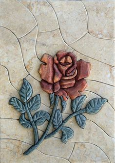 Lovely Red Flower 3D Stone Marble Mosaic Art Fully by Mozaico