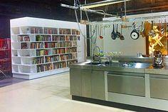 Nigella's studiokitchen, great idea for a bookcase/divider