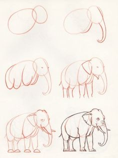 How to draw an elephant - Tiere Malen Elefant - Easy Pencil Drawings, Pencil Sketch Drawing, Pencil Art Drawings, Doodle Drawings, Art Drawings Sketches, Disney Drawings, Drawing Lessons, Drawing Techniques, Drawing Ideas