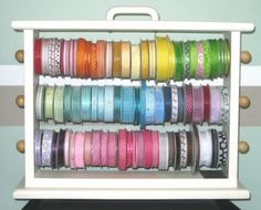 Painted Large Ribbon Storage Rack.  Great DIY project!