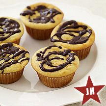 Vanilla Cupcakes Drizzled with Chocolate