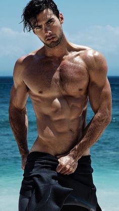Mitchell Wick, Male Model, Good Looking, Beautiful Man, Guy, Handsome, Hot, Sexy, Eye Candy, Beard, Muscle, Hunk, Hairy Chest, Abs, Six Pack, Shirtless, Wet 男性モデル