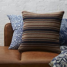 """CB2 18"""" The Hill-Side workwear blanket stripe dhurrie pillow with down-alternative insert"""