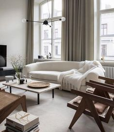 Apartment living room white interior design Ideas for 2019 Scandinavian Design Living Room, Curtains Living Room, Trendy Living Rooms, Living Room Scandinavian, Modern Room, Apartment Living Room, Living Room Remodel, Living Decor, Living Room Grey