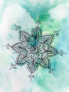 Turquoise Om Mandala Watercolor Print Om Zentangle by TheHappyYogi