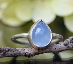 Faceted Natural  Blue Chalcedony sterling silver by DaniqueJewelry, $44.99