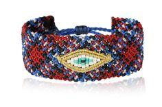 Zoe Kompitsi | Red & Blue Tartan Macrame Bracelet