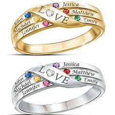 Looking for a fabulous Mother's Day or Christmas gift for Mom?  Delight her with this stunning mother's ring with the names and birthstones of up to 6 kids.  The center band features a heart-shaped diamond as the O in LOVE.  A gift Mom will treasure!