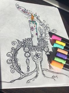 Splendid Crystal Candle Light Printable Page Adult Coloring Illustrator PDF Original Ink Pen Drawing By Aeris Osborne