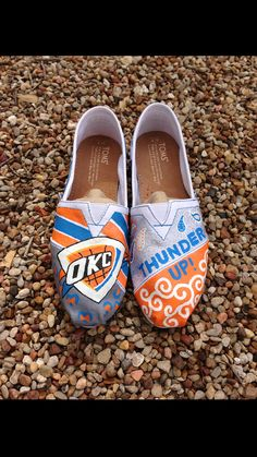 Hand Painted OKC Thunder Toms by LeopardStudios on Etsy