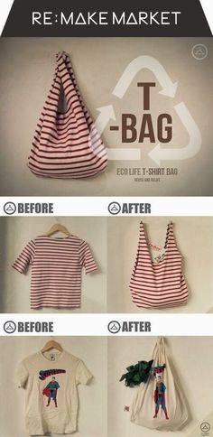 Upcycle old t-shirts into tote bags.