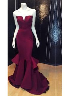 Red strapless mermaid dress