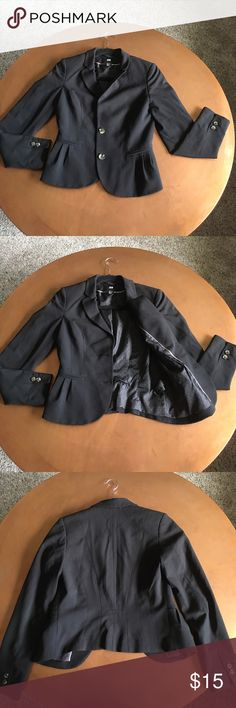 Fitted blazer Fitted black blazer. Notched lapels. Two buttons at front. Vent at back. Lined. Wonderful for business casual! Jackets & Coats Blazers