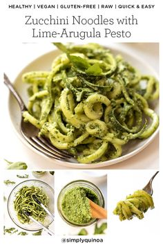 Healthy Recipes : Illustration Description Zucchini Noodles with LIME ARUGULA PESTO! Quick, easy, healthy and perfect for a warm summer night! Simply Quinoa -Read More – Best Gluten Free Recipes, Healthy Pasta Recipes, Healthy Pastas, Vegan Recipes Easy, Clean Eating Recipes, Vegetarian Recipes, Veggie Recipes, Healthy Food, Vegan Pesto