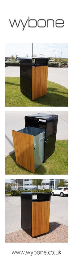 The New Wybone Contour Bin offers a modern design, metal litter bin with decorative wooden Iroko panels to the front and back. Beautifully rounded corners give the bin a softened look, making it an ideal choice for urban and rural environments.