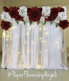 😍😍 from 😍😍 paperflowercrush paperflower paperflowers firstbirthdayparty bridalshower…Red and white giant flowers decoration.Paper flowers as a backdropPredictive awarded quinceanera decorations Reveal my mystery couponNo automatic alt t Quince Decorations, Wedding Flower Decorations, Birthday Decorations, Flowers Decoration, Decorations For Quinceanera, Paper Flowers For Wedding, Red And White Wedding Decorations, Wedding Ideas, Red Wedding Receptions