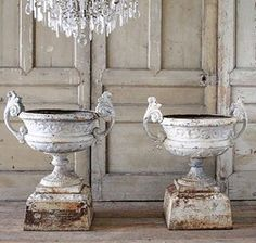 Chic Shabby and French French Country Farmhouse, Farmhouse Decor, Urn Planters, Garden Urns, French Decor, Architectural Salvage, Flower Pots, Flowers, Garden Design